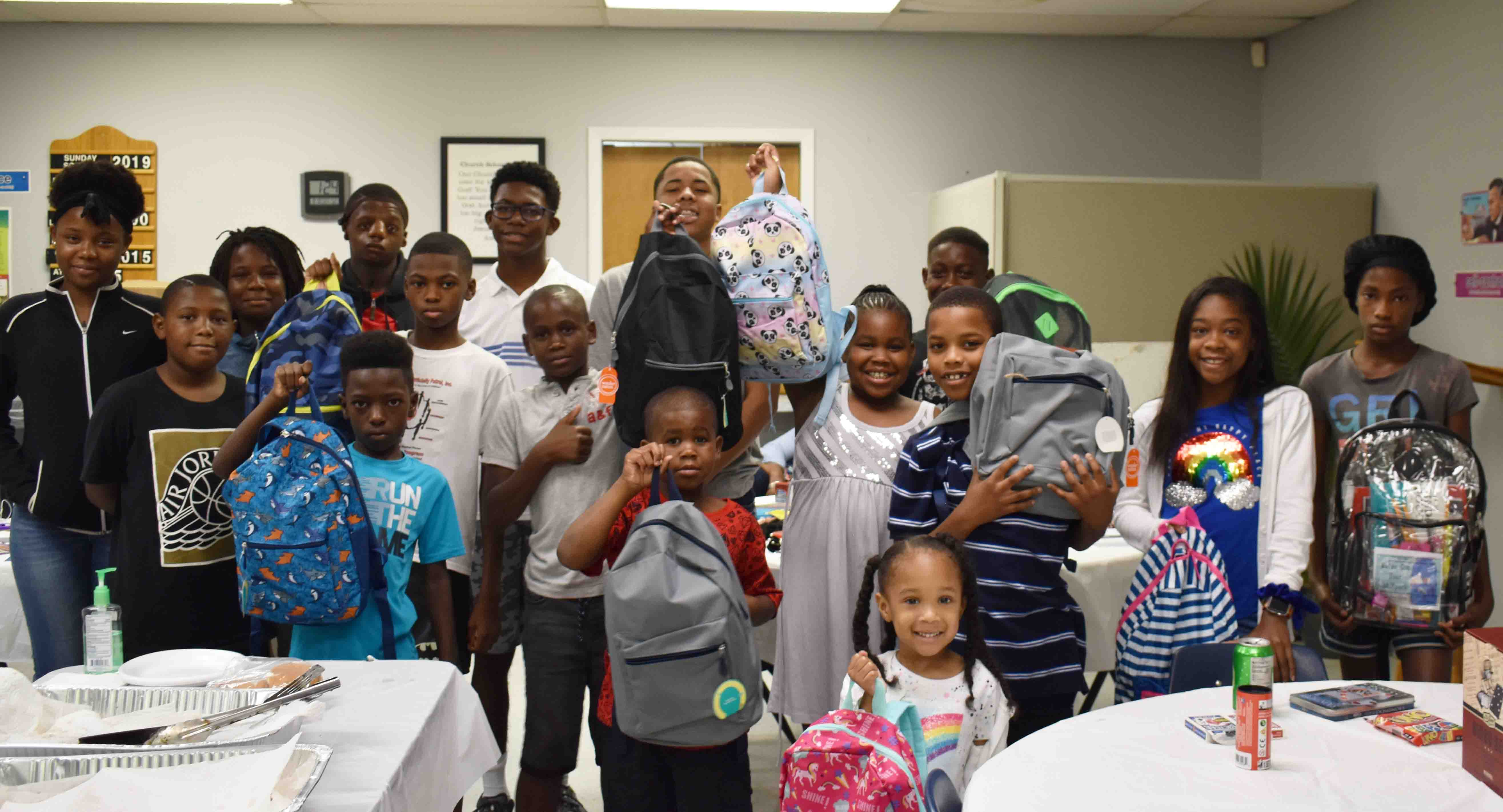 Kiddos received backpacks filled with supplies
