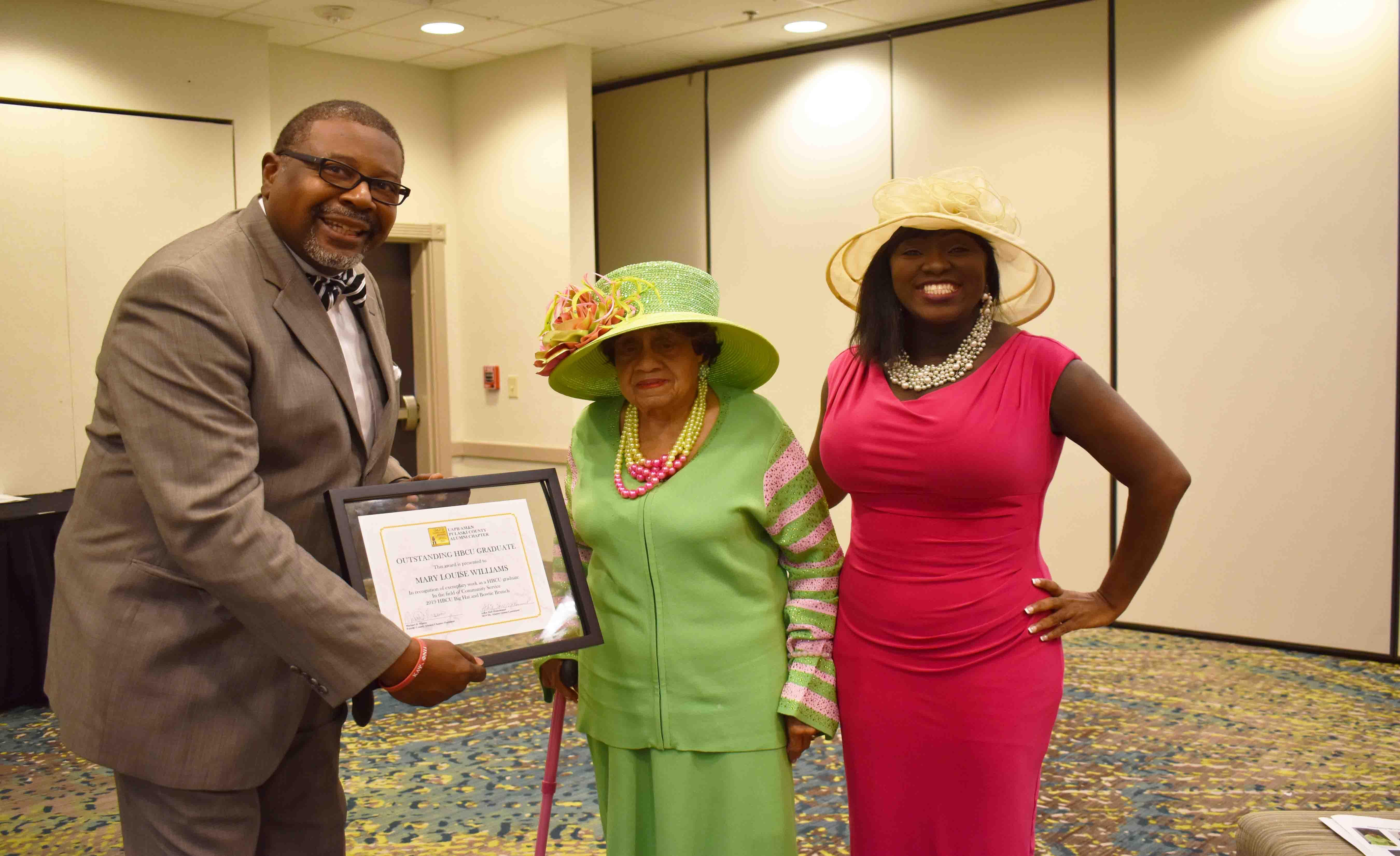 UAPB/AM&N Pulaski County Alumni Chapter President,Michael Mason, Mary Louise Williams, Ashia Muhammad (UAPB/AM&N Pulaski County Chapter Ms. Alumni Queen Contestant)